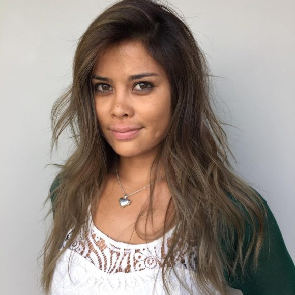 Messy Wavy Textured Layers on Light Ash Brown Hair with Side Part and Subtle Shadow Roots Long Summer Hairstyle
