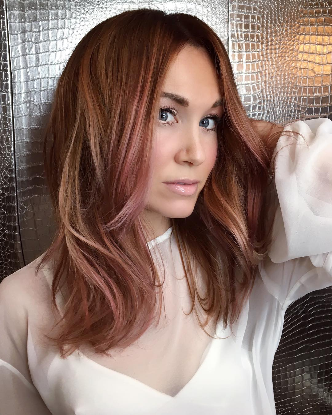 Mid Layered Cut with Face Framing Layers and Blowout Style on Light Brown Hair with Rose Highlights Medium Length Summer Hairstyle