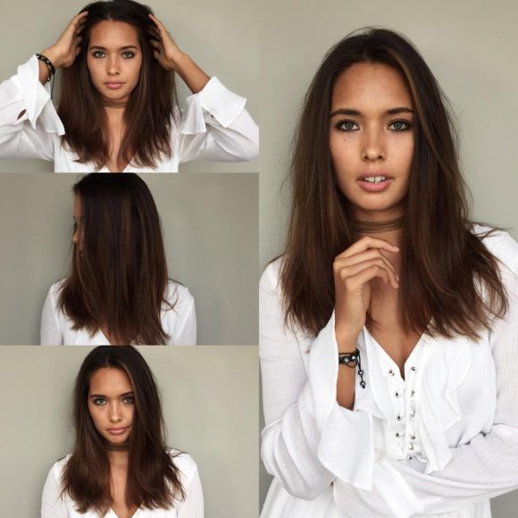 Mid-Length Straight Messy Textured Hair with Seamless Layers and Warm Brunette Hand Painted Color Medium Length Summer Hairstyle