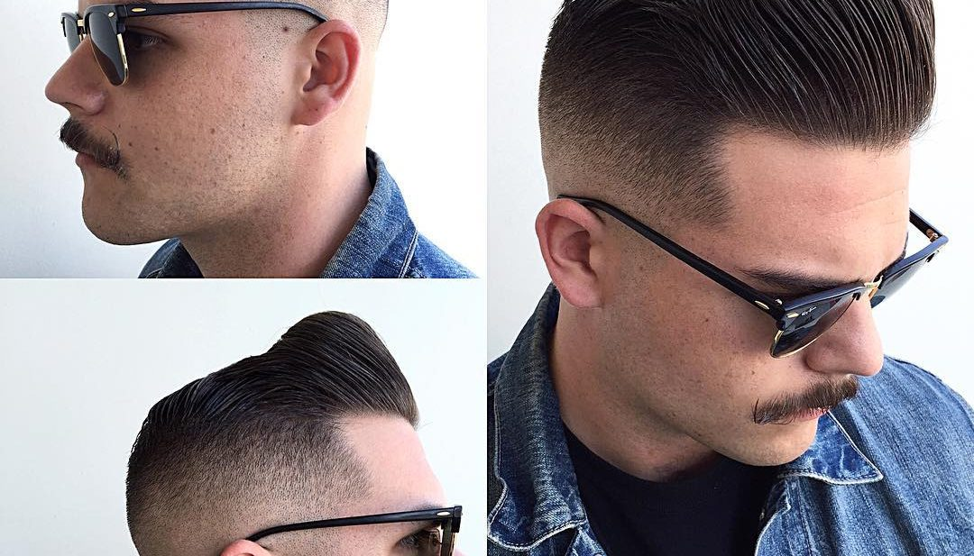 Mod Bald Fade Pompadour with Brown Hair Color Mens Hairstyle