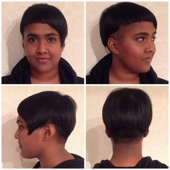 Modern Asymmetric Bowl Cut with an Undercut Short Hairstyle