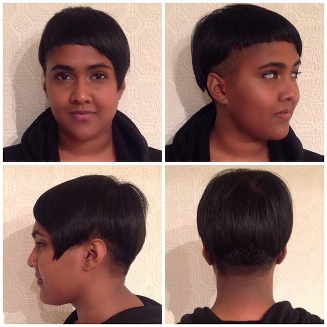 Modern Asymmetric Bowl Cut with an Undercut Short Hairstyle