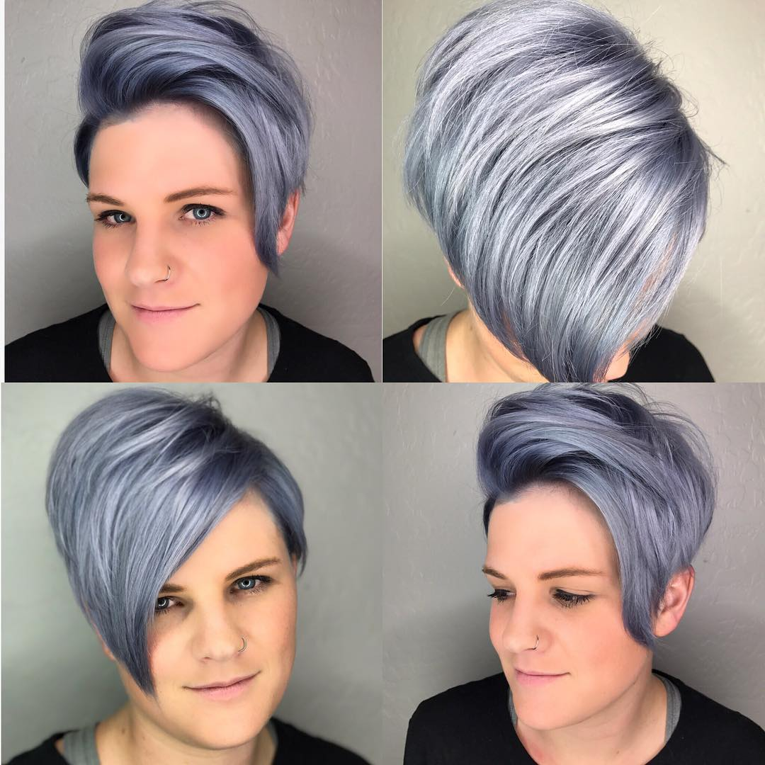 Modern Asymmetrical Pixie with Metallic Blue Color Short Hairstyle