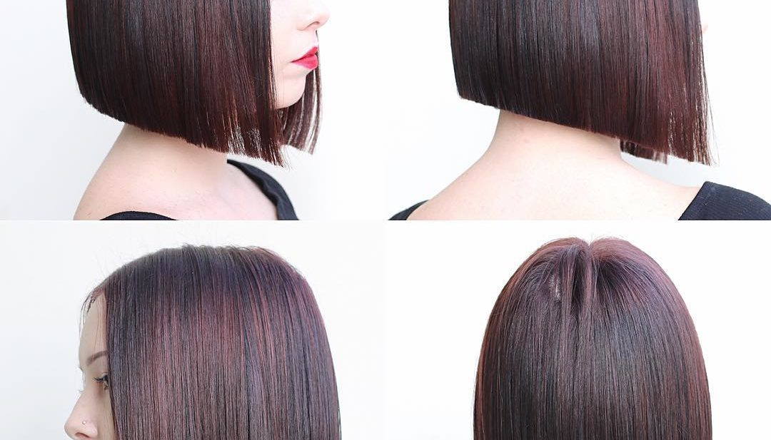Modern Blunt Angled Bob with Brunette Color and Burgundy Highlights Medium Length Hairstyle