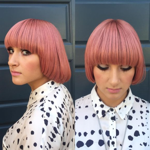 Modern Page Boy Bob with Rosy Pink Color Short Hairstyle