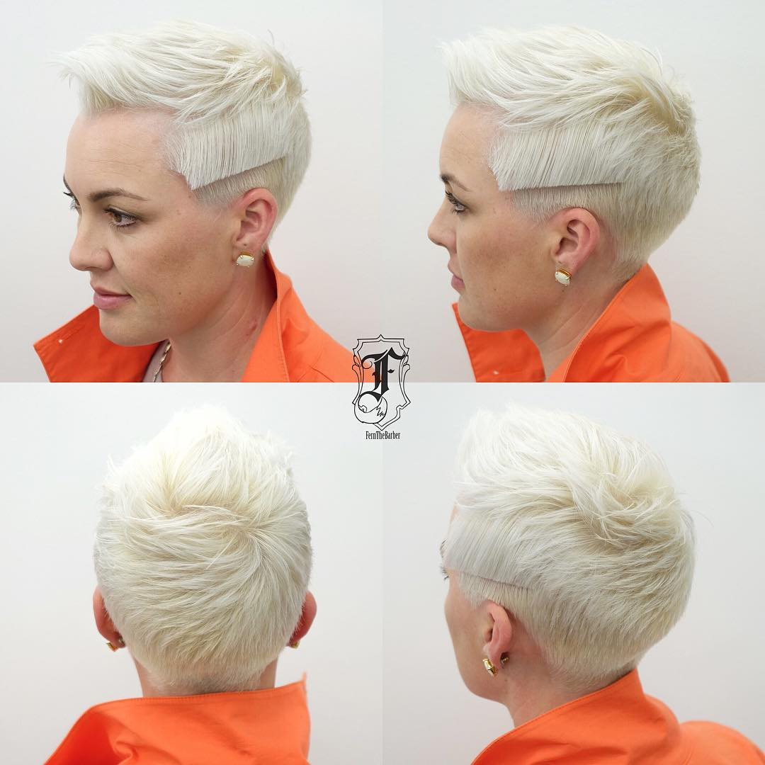 Modern Platinum Textured Pixie with Brushed Up Lengths and Blunt Line Detail Short Hairstyle