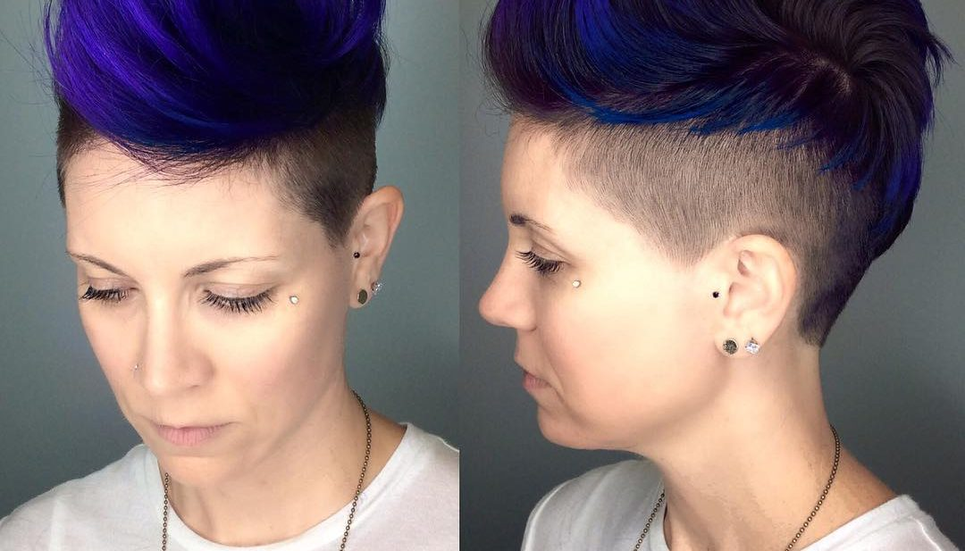 Voluminous Royal Blue Brushed-Up Undercut Pixie Short Hairstyle