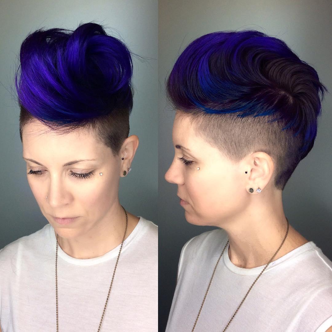 Voluminous Royal Blue Brushed-Up Undercut Pixie Short Hairstyle
