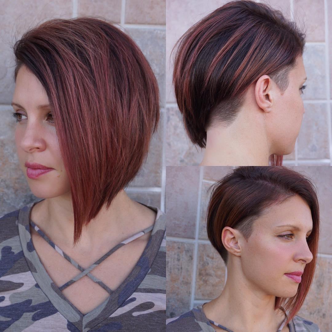 Modern Sleek Undercut Asymmetrical Bob with Burgundy Color Short Hairstyle