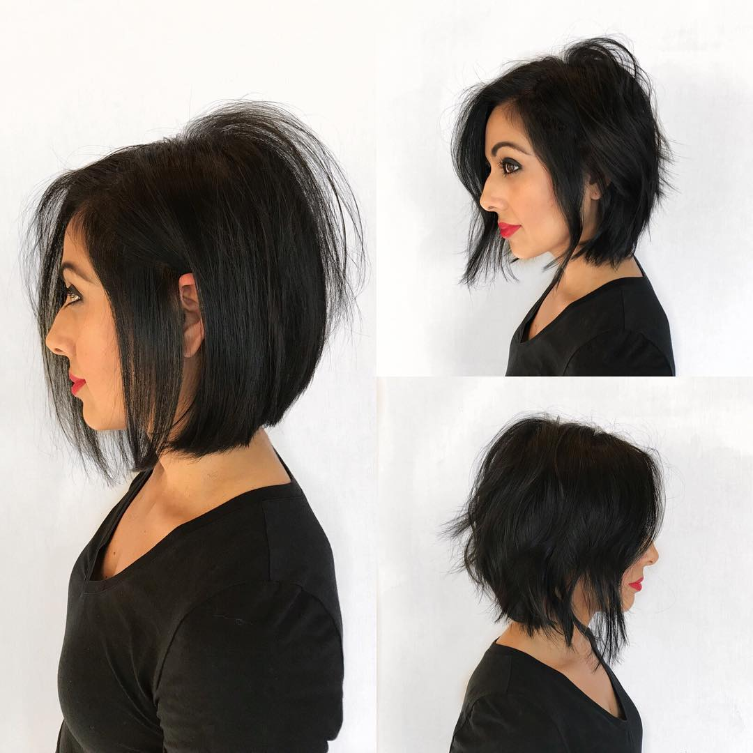 Modern Soft A-Line Bob with Undone Texture and Black Coloring Medium Length Hairstyle