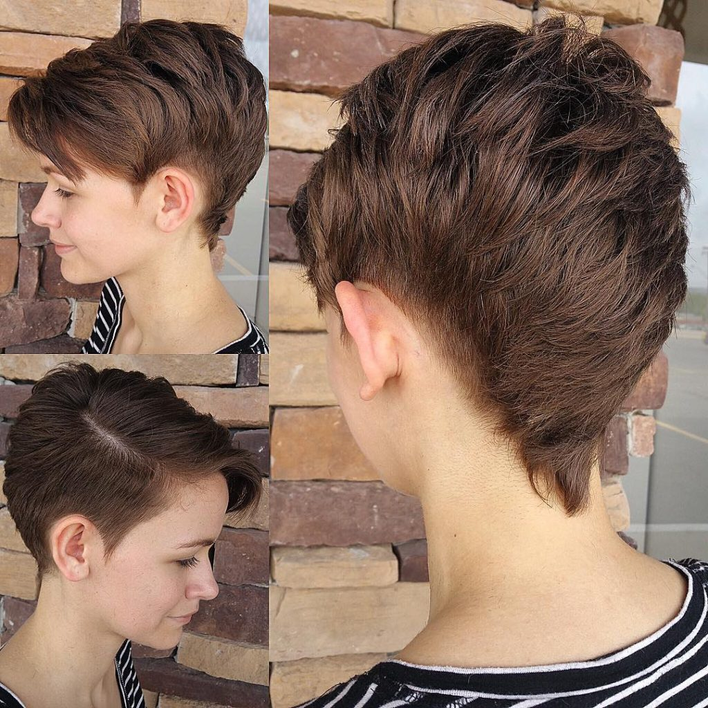 Modern Textured Faux Hawk with Side Swept Bangs and Brunette Color Short Hairstyle