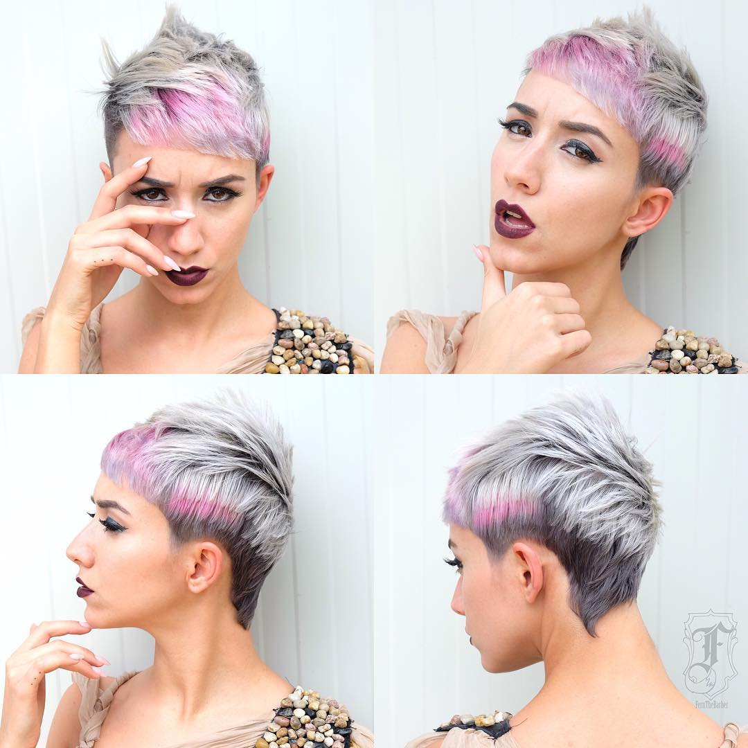 Modern Textured Mullet with Silver Grey Shade and Pink Highlights Short Hairstyle
