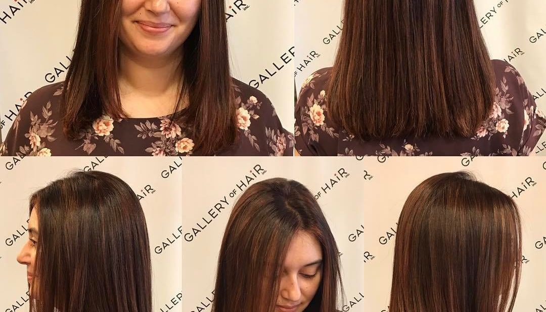 One Length Cut with Textured Ends and Warm Brunette Color with Highlights Medium Length Hairstyle