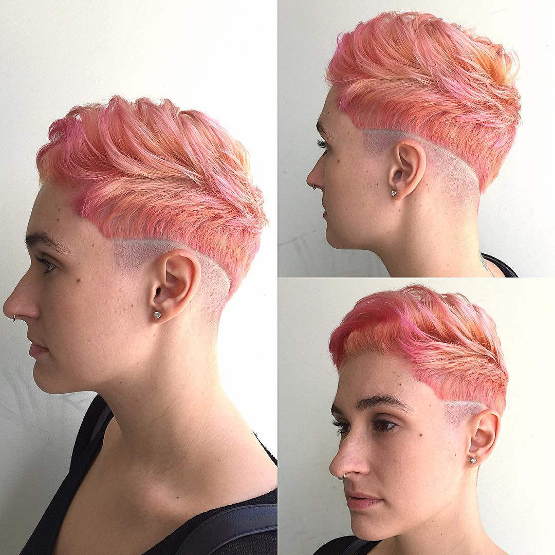 Peach Colored Wavy Textured Pixie with Shave Detail Short Hairstyles