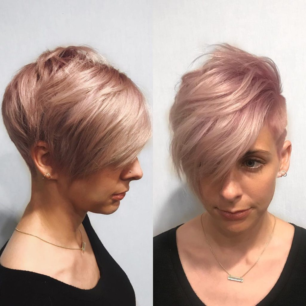 Pink Graduated Pixie with Messy Top Fringe and Undercut Short Hairstyle