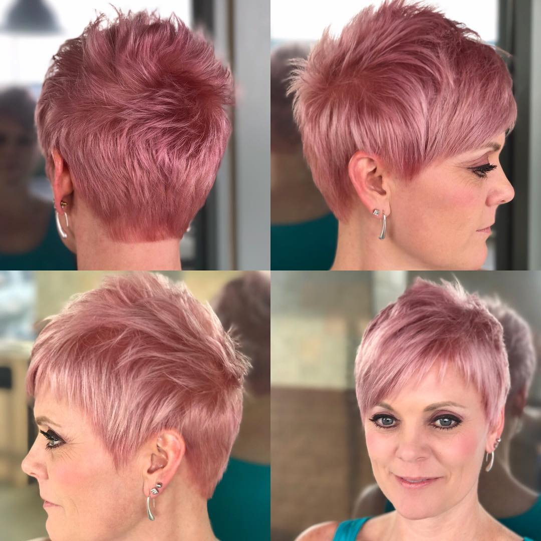 Pink Pastel Razor Cut Textured Pixie with Asymmetrical Bangs Short Hairstyle