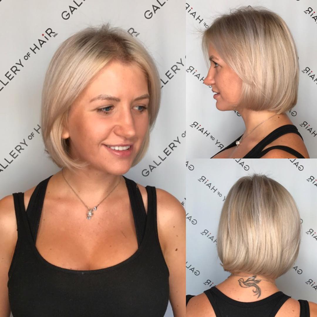 Platinum Classic Bob with Ash Blonde Lowlights Short Hairstyle