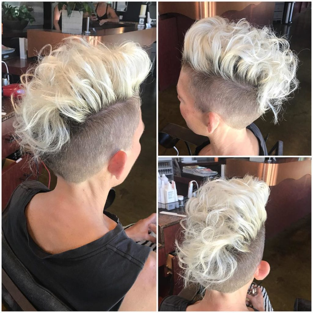 Platinum Curly Undercut Mohawk Style Pixie Short Hairstyle