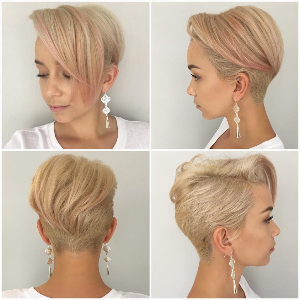 Platinum Disconnected Undercut Pixie with Messy Straight Texture and Rose Gold Highlights Short Summer Hairstyle