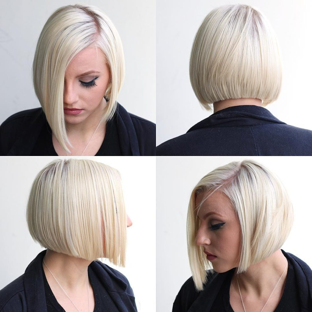 Platinum Shaped Bob with Clean Lines and Side Part Short Hairstyle