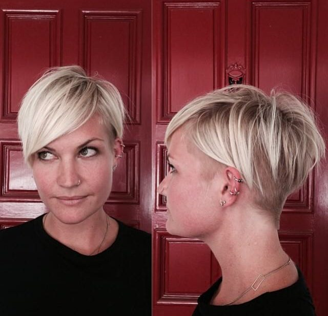 Platinum Side Swept Undercut Pixie with Bangs and Undone Texture Short Hairstyle