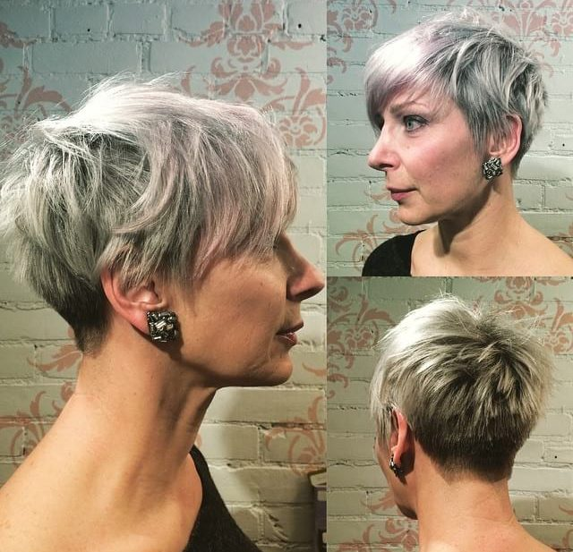Platinum Silver Pixie with Feathered Texture and Bangs Short Hairstyle