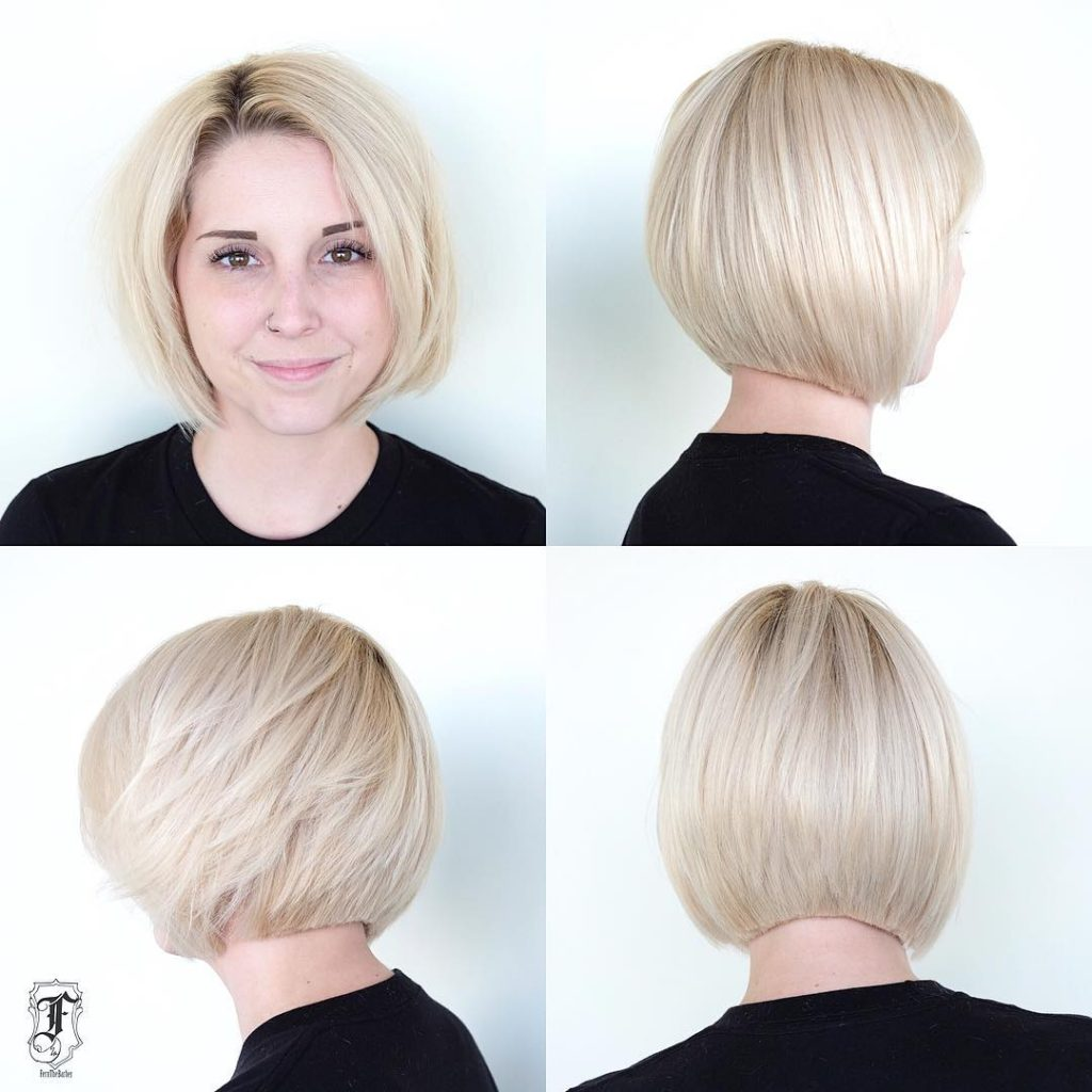 Platinum Slightly Graduated Bob with Blunt Edges Short Hairstyle
