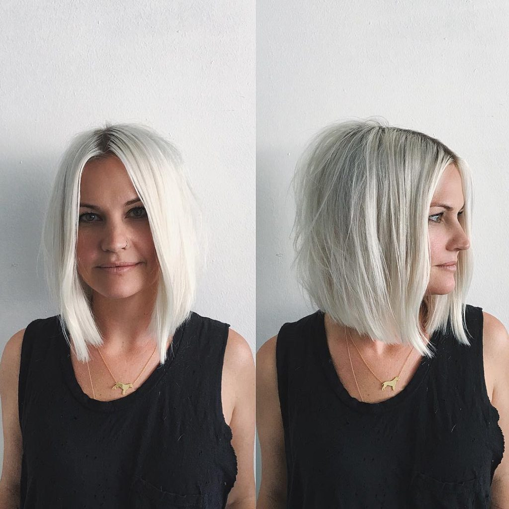 Platinum Soft Blend Layered Bob With Just A Bend Messy