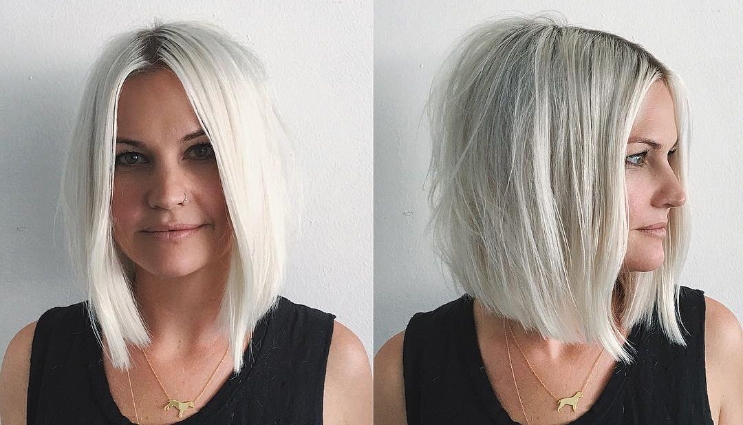 Platinum Soft Blend Layered Bob with Just a Bend Messy Texture and Shadow Roots Medium Length Summer Hairstyle