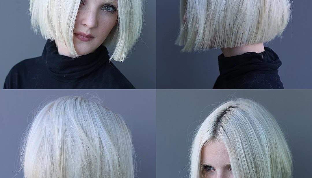 Platinum Textured Bob with Straight Lined Edges Short Hairstyle
