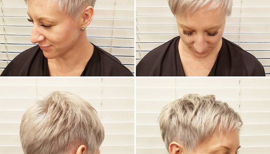 Platinum Textured Pixie with Taper and Asymmetric Bangs Short Hairstyle