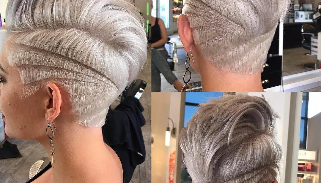 Platinum Undercut Pixie with Blunt Lined Shave Art Details Short Hairstyle