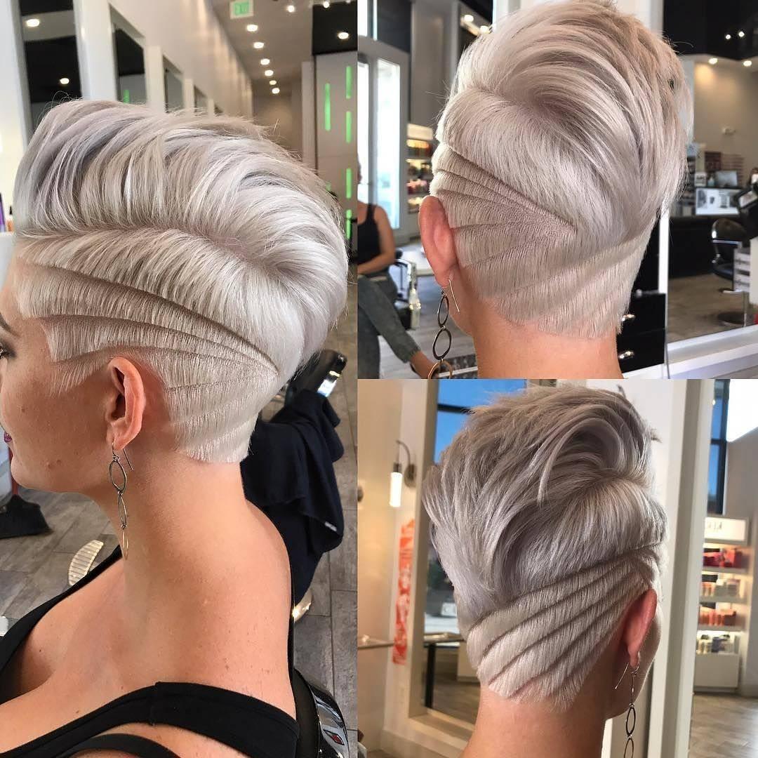 Platinum Undercut Pixie with Blunt Lined Shave Art Details Short Hairstyle