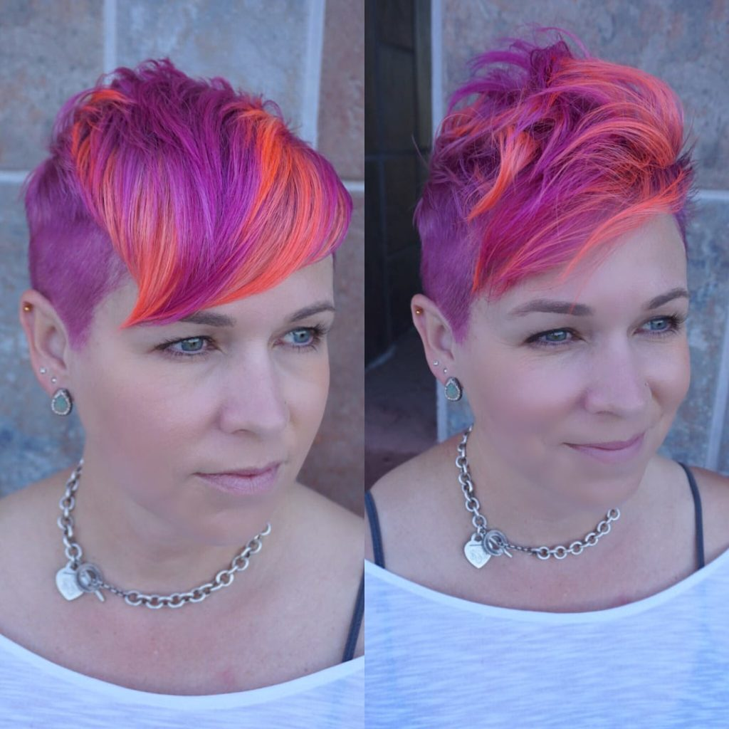 Playful Neon Textured Undercut Pixie Short Hairstyle