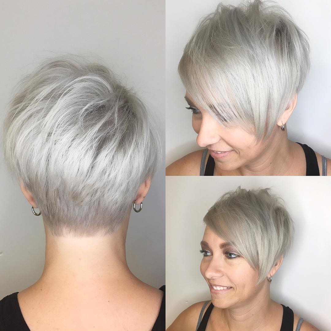 Polished Platinum Asymmetrical Textured Pixie with Side Swept Bangs Short Hairstyle