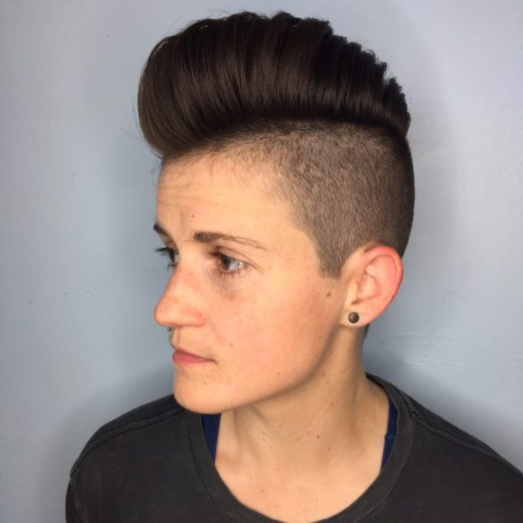 Pompadour Faux Hawk with Skin Fade and Warm Brunette Hair Color Short Fall Hairstyle