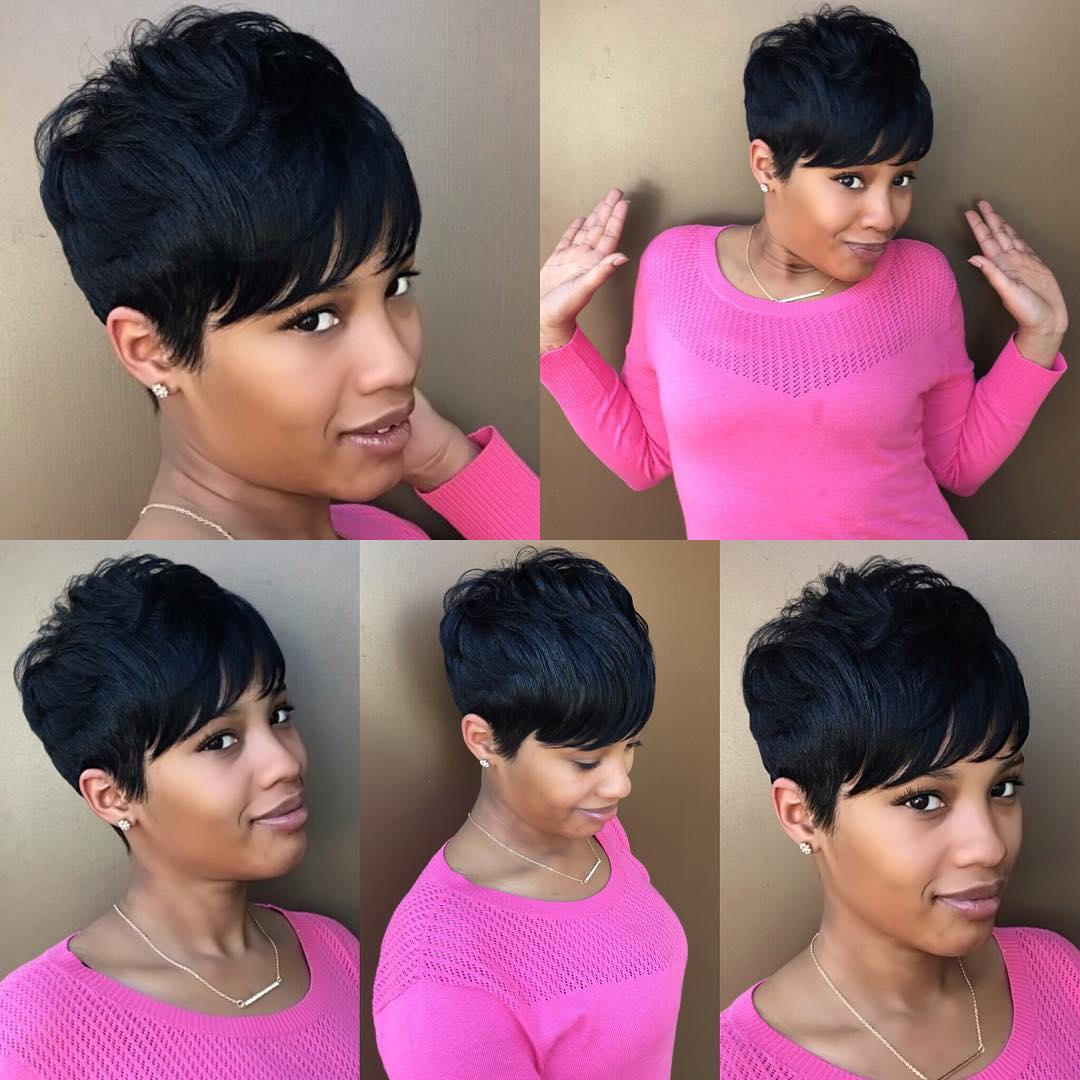 Pretty Black Textured Crop Cut with Bangs Short Hairstyle
