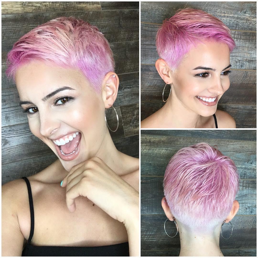 Pretty Pink Textured Pixie Short Hairstyle