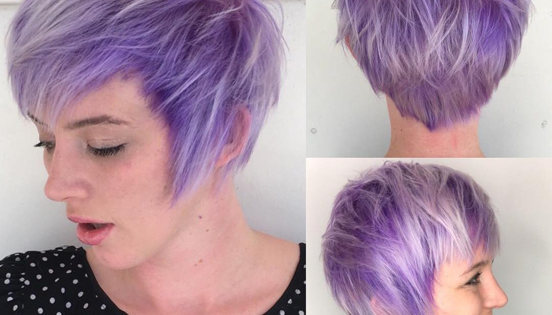 Purple Shaggy Fringe Pixie with Platinum Highlights Short Hairstyle