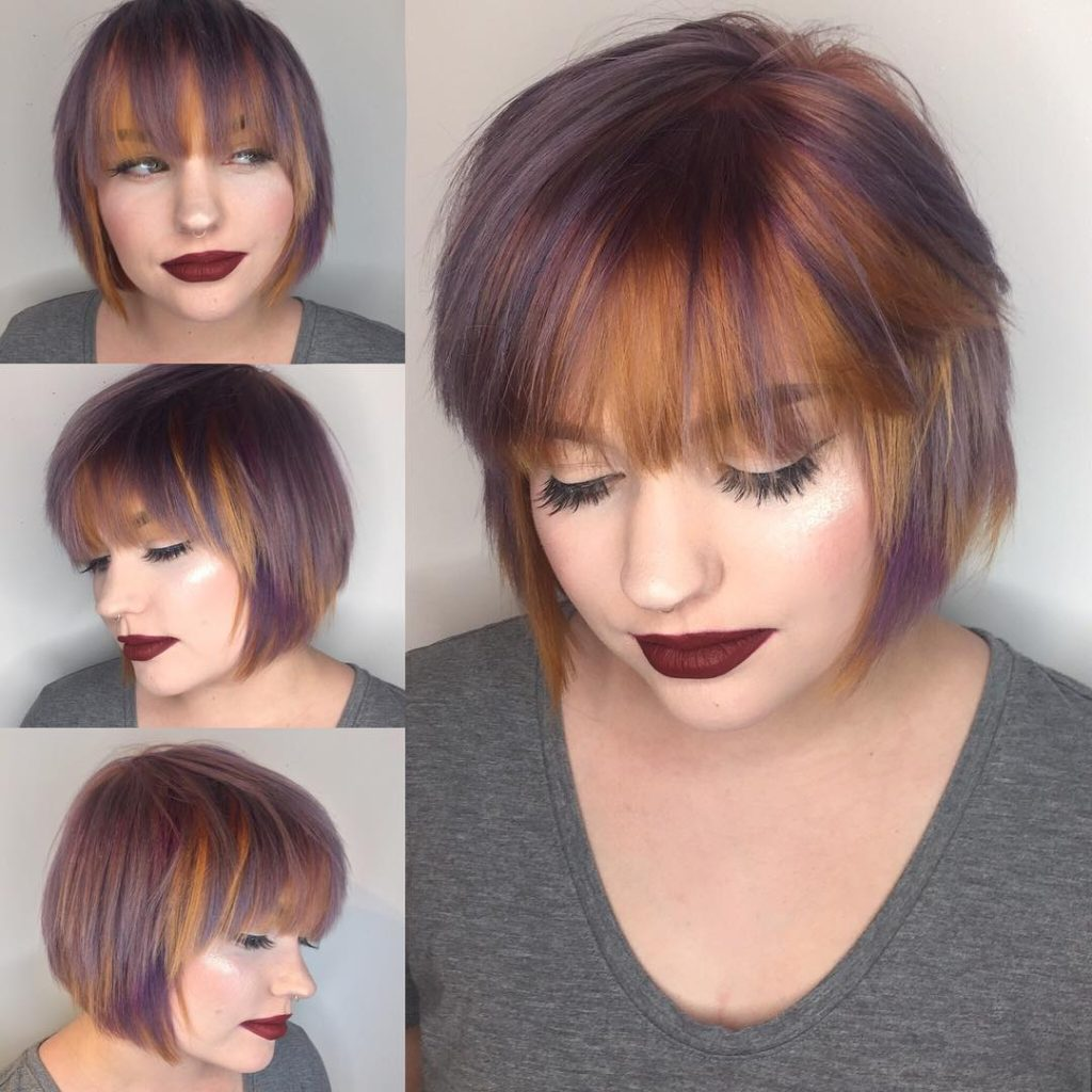 Purple and Copper Streaked Layered Bob with Feathered Bangs Short Hairstyle