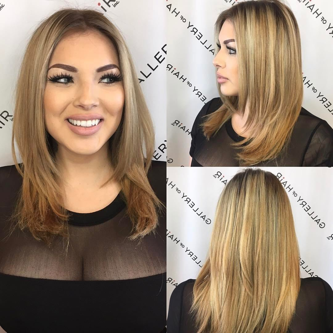 Razor Cut Layered Blowout with Face Framing Layers and Blonde Color Melt Balayage Medium Length Hairstyle