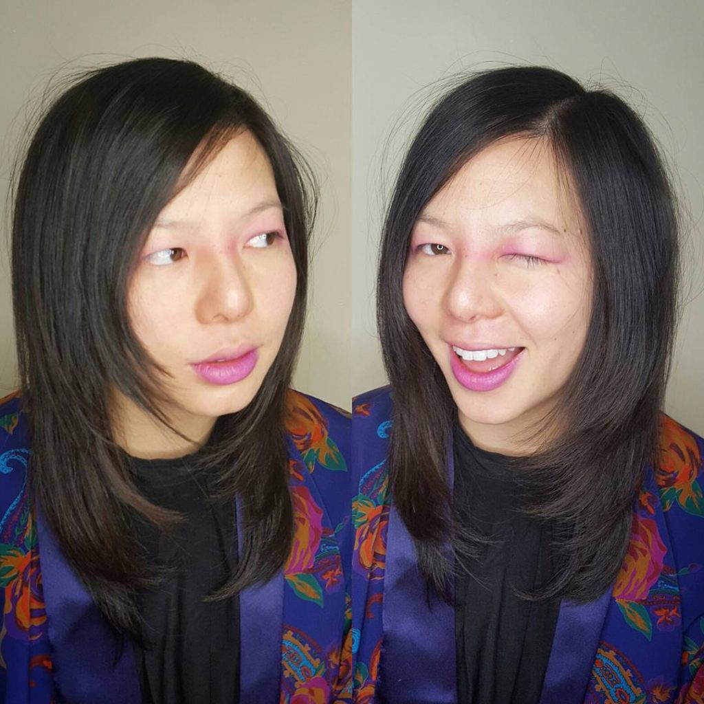 Razor Cut Lob with Face Framing Layers and Dark Brunette Color Medium Length Hairstyle