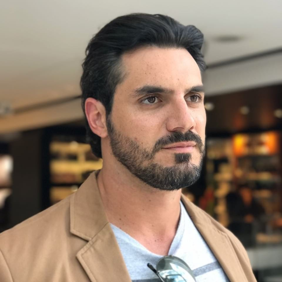Regular Cut with Wavy Backcombed Texture and Beard on Dark Hair Classic Fall Hairstyle