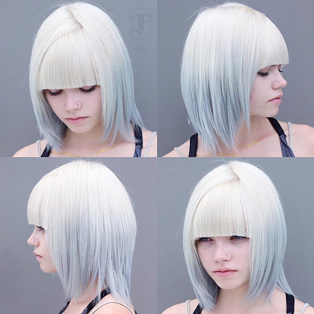 Reverse Silver Ombre on Choppy Bob with Blunt Bangs Medium Length Hairstyle