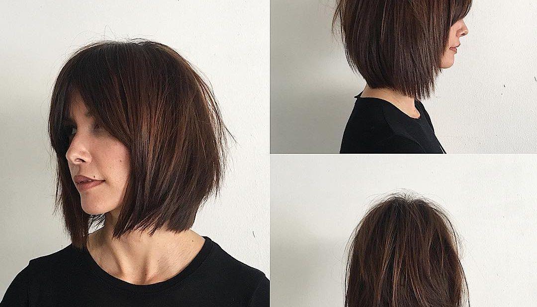 Rich Brunette Soft Layered Bob with Curtain Bangs and Undone Straight Texture Medium Length Hairstyle
