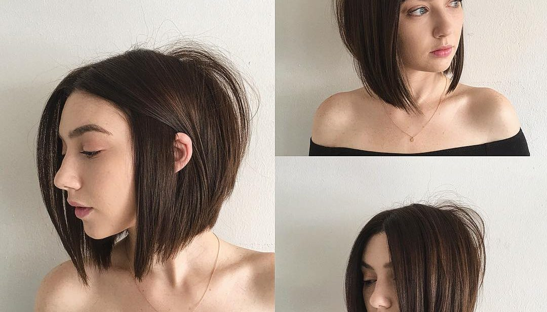 Sexy Blunt Razor Cut Bob with Center Part and Brunette Color Medium Length Hairstyle