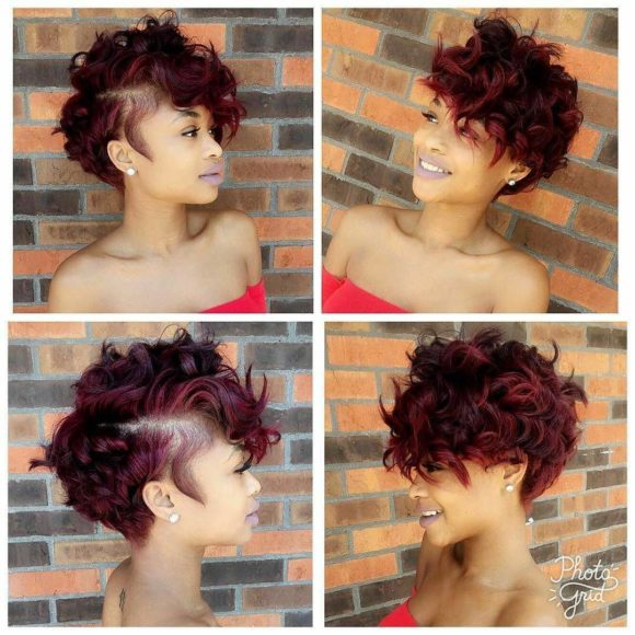 Sexy Burgundy Messy Curly Pixie Short Hairstyle