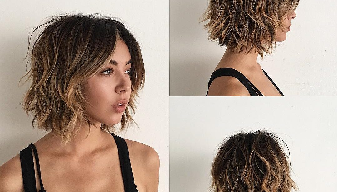 Sexy Layered Bob With Curtain Bangs And Undone Wavy Texture With Balayage The Latest Hairstyles For Men And Women 2020 Hairstyleology
