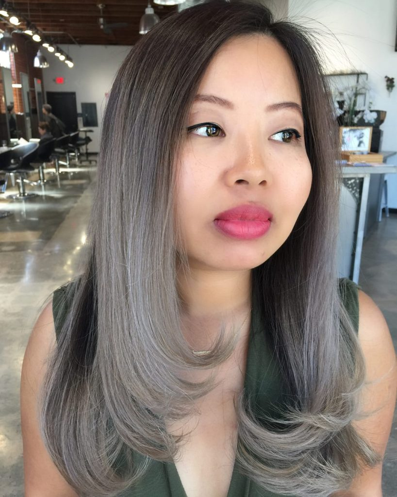 Sexy Razor Cut Blowout with Ashy Grey Ombre Long Hairstyle