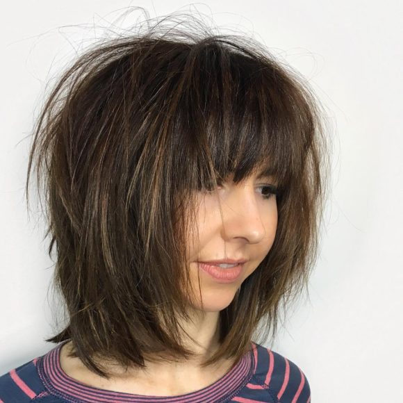 Shaggy Brunette Bob with Fringe Bangs and Straight Undone Texture Medium Length Hairstyle